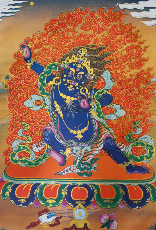 "* BROCADED WOOD SCROLL 32"" TIBET THANGKA PAINTING: VAJRAPANI, POWER OF BUDDHA"