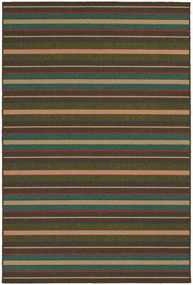 Tommy Bahama Brown Lines Bars Rows Levels Contemporary Area Rug Striped 1307D
