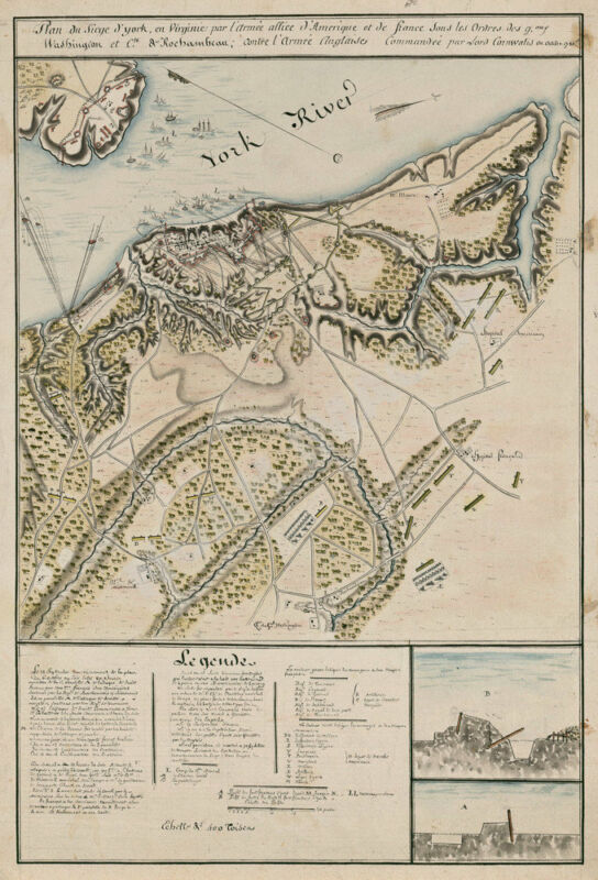 Map of Siege of York Virginia c1780 16x24