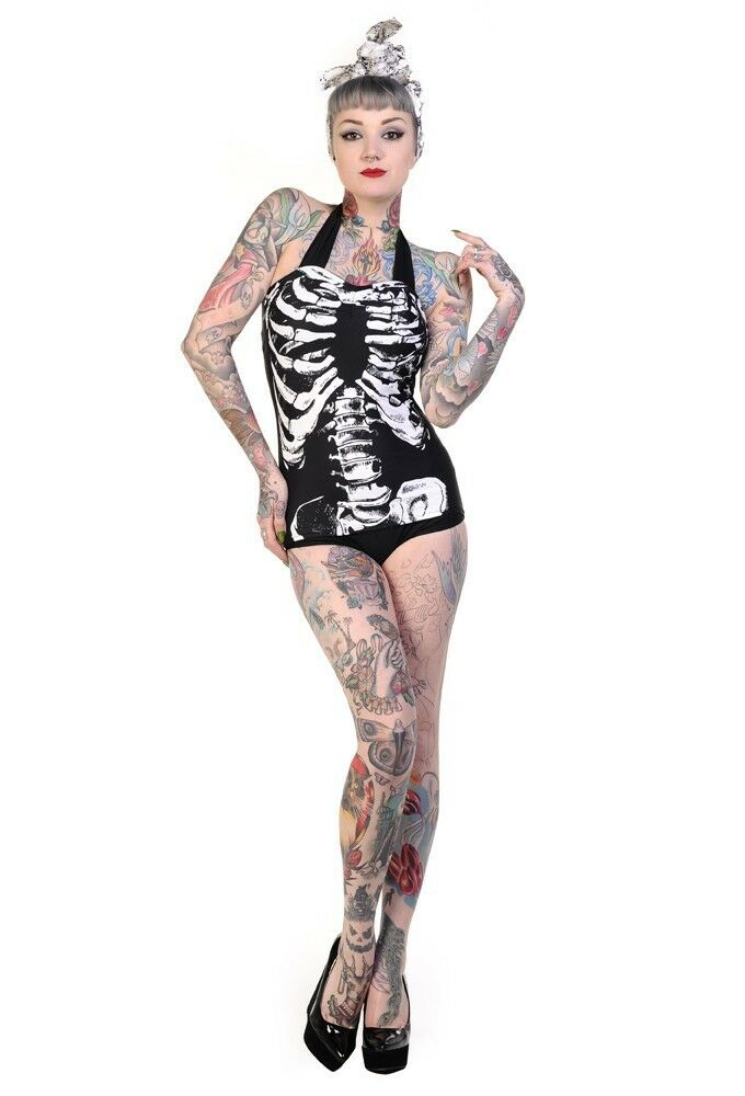 Banned Badeanzug Rockabilly Skelett Vintage Skeleton Pin up swimwear  #3152 529