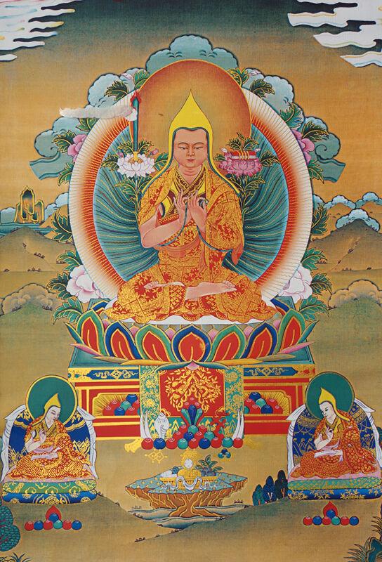 "14"" BROCADED BLESSED GOLDEN WOOD SCROLL TIBET YELLOW HAT THANGKA: Tsong Kha-pa -"