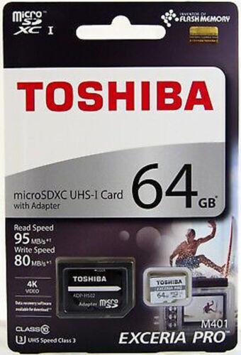 TOSHIBA micro SD Card 64G 64GB UHS-I U3 4K EXCERIA PRO M401