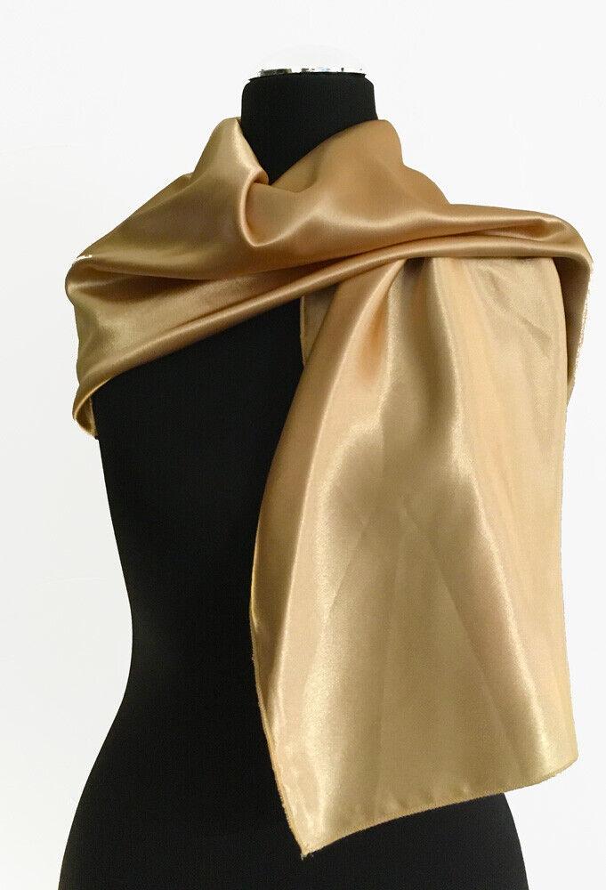 Schal Tuch Stola Satin gold beige festlich elegant Abendmode ca. 37 x 140 cm NEU