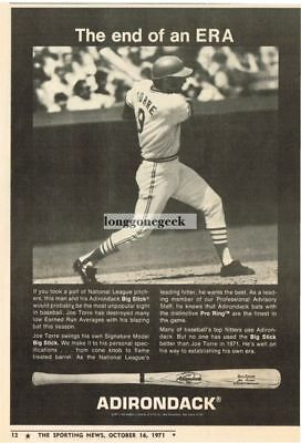 1971 Adirondack Big Stick Baseball Bats Joe Torre St. Louis Cardinals Vintage Ad