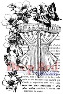 Deep Red Rubber Cling Stamp Corset Collage Victorian Floral Butterfly Floral Collage Stamp