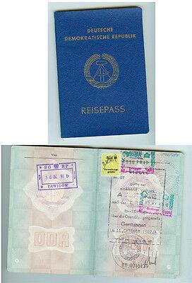 DDR GDR Pass Reisepass Passport mit Visa und Ausreisestempeln 1987 ungültig