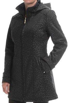 Ellen Tracy Soft Shell A Line Leopard Print Black Jacket Coat XS or SMALL - NEW!