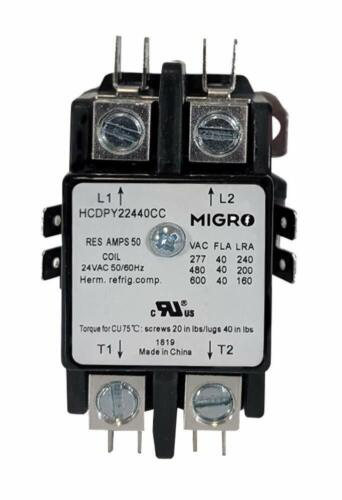 Migro 40Amp 2 Pole NEMA 600V 24V Coil HVAC Heavy Duty Definite Purpose Contactor
