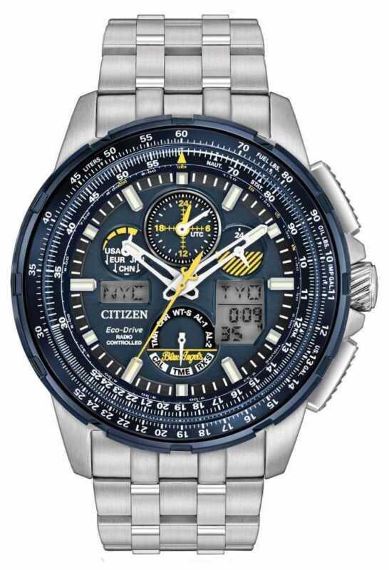 Citizen Men's Eco Drive Stainless Steel Blue Angels Skyhawk A-T Watch JY8058-50L