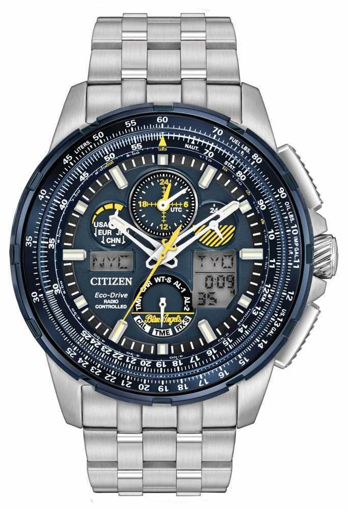 $372.45 - Citizen JY8058-50L Men's Eco Drive Stainless Steel Blue Angels Skyhawk A-T Watch