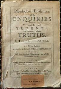 Rare Book: Pseudodoxia Epidemica, Second Edition 1650, by Sir T