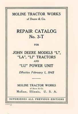 John Deere L La Li Lu Tractor Catalog Parts Manual 3-t