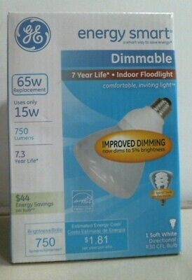 - GE R30 CFL Light Bulb, 65W Replacement, Dimmable, Energy Smart, Soft White, FS