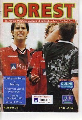 Nottingham Forest v Reading 1997/98 division 1