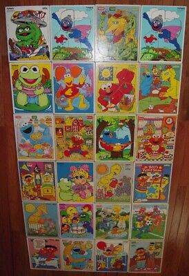 Lot of 24 Vintage  Sesame Street  Playskool Wooden Wood Puzzles