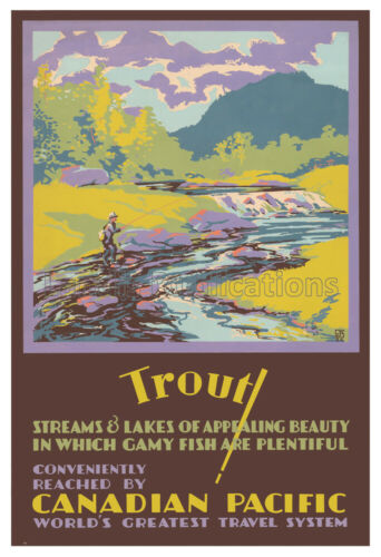 Canadian Pacific Railway Trout Streams Advertising Poster