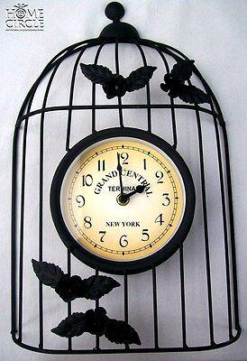 BIRDCAGE DESIGN METAL WALL CLOCK ANTIQUE BLACK ROSE DESIGN NEW YORK THEME