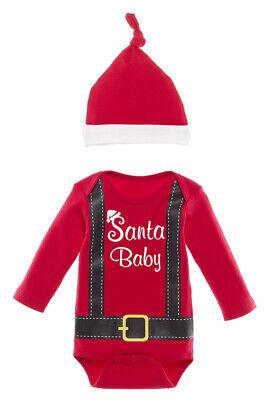 Ganz Christmas Baby Boy 0-6 mo Santa Red Diaper Shirt Crawler & Cap Set EX21098
