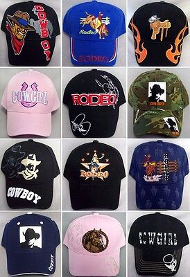 Rodeo Cowboy Baseball Caps  Assorted 12 Pc Lot  Embroidered (Rodeo-12**)](Bulk Cowboy Hats)