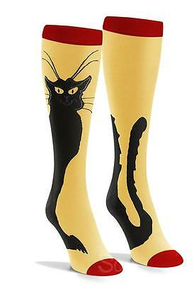 Black Cat Yellow Red Novelty Animal Cotton Women Socks Knee High Cosplay fun
