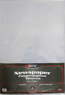 "(50) BCW-SSLV-NP-16X24 Newspaper Bags Covers Sleeves 16 1/4"" x 24 1/8"" Protect"