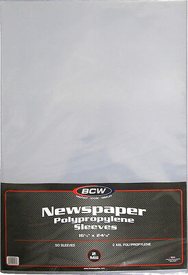 """(100) BCW-SSLV-NP-16X24 Newspaper Bags Covers Sleeves 16 1/4"""" x 24 1/8"""" Protect"""