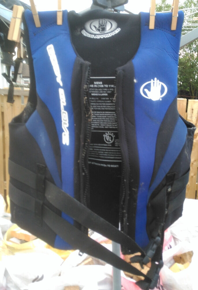 """pair of adult unisexjetskiwave runner speed boatlife jackets in very good conditionin Newtownards, County DownGumtree - pair of adult unisex life jackets in very good condition , 1st jacket is like a wet suit material and although the label size states 42"""" to 45"""" it has been safely used by a friend with chest size 38"""" with the strap buckle clips adjusted to be a..."""