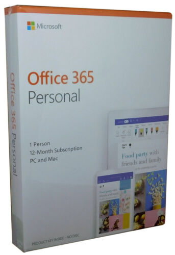 Microsoft Office 365 Personal 12 Month Subscription PC Mac QQ-200728 New In Box