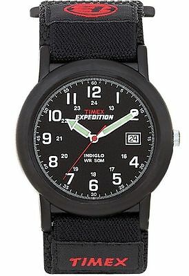 """Timex T40011, Men's """"Expedition Camper"""" Black Wrapstrap Watch, Indiglo, Date"""