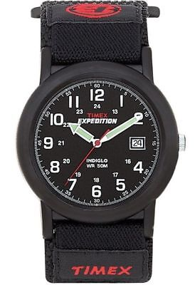 Mens Timex Indiglo Expedition Camper Black Canvas Band Black Dial Watch T40011