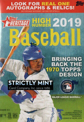2019 Topps Heritage HIGH NUMBER Baseball Factory Sealed Blaster Box Autos Jersey