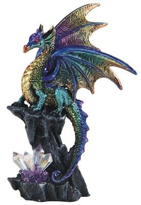 Green and Purple Dragon on Stone with Crystals Medieval Fantasy Figurine New