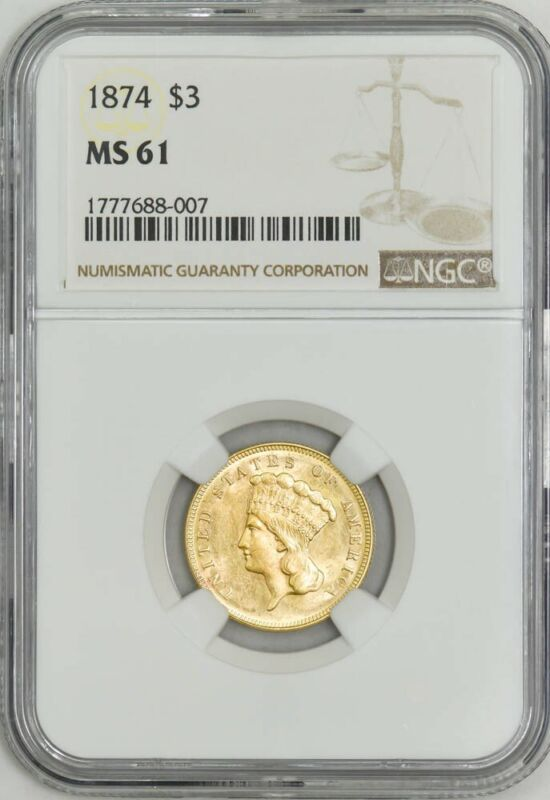 1874 $3 Gold Indian MS61 NGC 943027-5