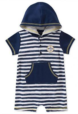 Nautica Infant Boys Striped Hooded Romper Size 3/6M 6/9M 12M 18M 24M $45