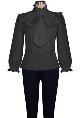 CSTD 83240 Damen Top Bluse Gothic Steampunk Millitary Krawatte Shirt  schwarz