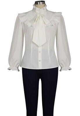 CSTD 83240 Damen Top Bluse Gothic Steampunk Millitary Krawatte Tie Shirt weiß