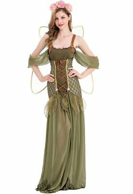 Zauberhafte Waldelfe Damen Kostüm mit Flügeln Fee Tinkerbell Elfe Mittelalter