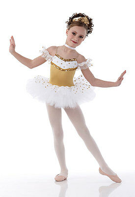 Christmas Gold Ballet Tutu Dance Costume DREAMS Tiara & Neckpiece Child & Adult - Adult Christmas Tutu