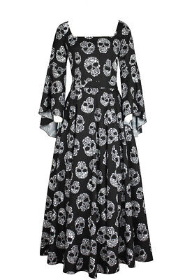 Plus Size Black w/ Skull Print Long Gothic Renaissance Chiffon Dress 1X 2X 3X 4X