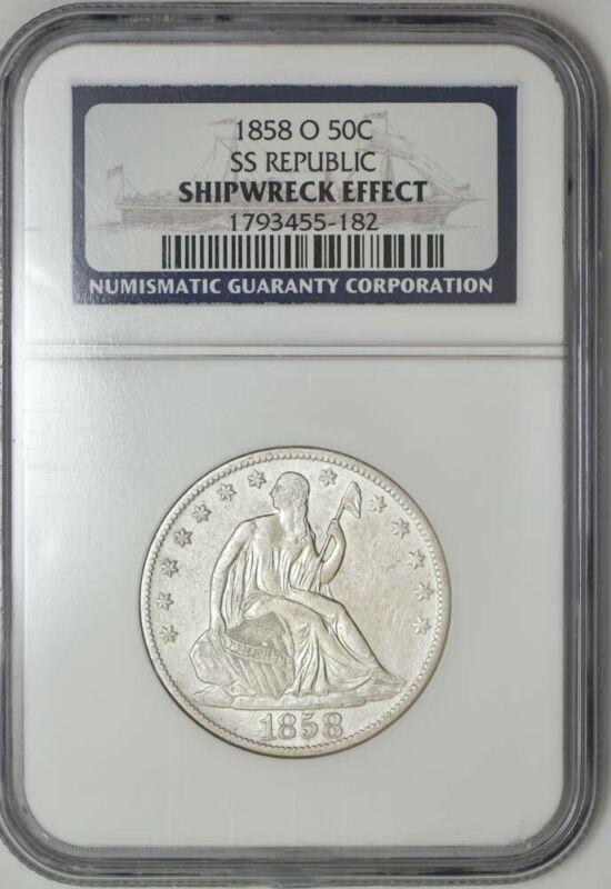 1858-O Seated Liberty Half 50c SS Republic NGC