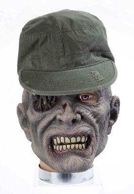 Halloween Maske Zombie Soldat mit Mütze Zombiemaske Karneval Kostüm Zubehör ()