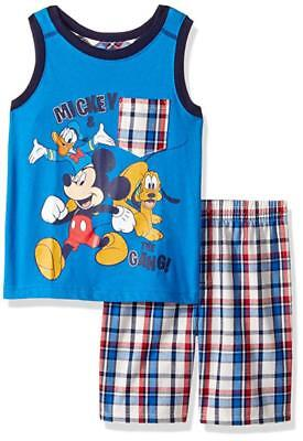 Blue Toddler Two Piece - Mickey Mouse Toddler Boys Blue Tank Top Two-Piece Short Set Size 2T 3T 4T
