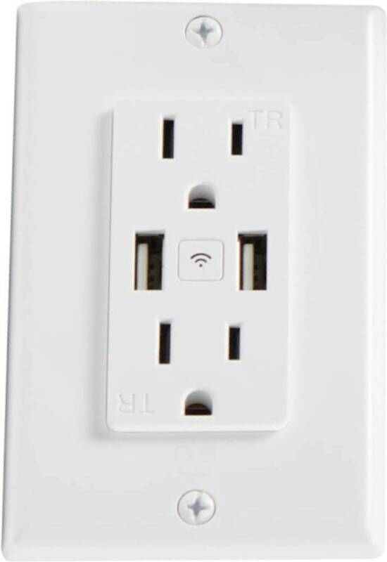Geeni - Current Plus Charge 2-Outlet/2-USB Smart Outlet - White