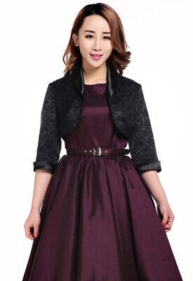Plus Size Jacquard Black Satin Trimmed Cropped 3/4 Sleeve Party Bolero Jacket