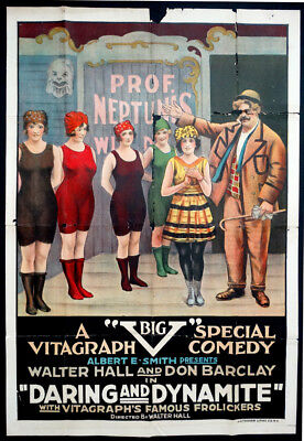 1918 Original DARING & DYNAMITE Vitagraph WALTER HALL & DON BARCLAY Movie Poster