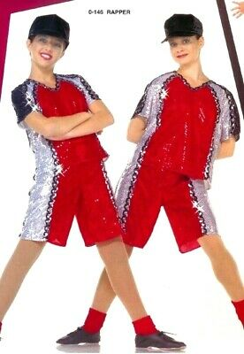 Lot of 7 Rapper Unisex Dance Costumes Sequin Shorts & Top w/ 6 Hats Child Small