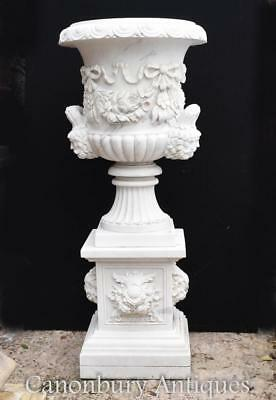 Pair Big White Italian Marble Campana Urns on Pedestal Stands Garden