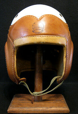 Old Antique Early 1940's SPALDING 32FH Leather Football Helmet Vintage