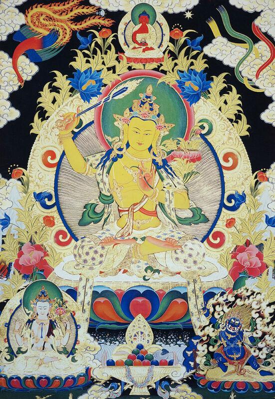 "48""BLSSED BROCADED WOOD SCROLL TIBETAN THANGKA: WISDOMFUL STARE FROM MANJUSHRI"