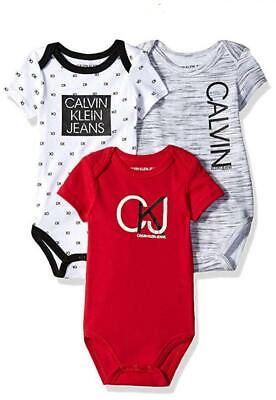 Calvin Klein Infant Boys Red 3-Pack Bodysuits Size 0/3M 3/6M